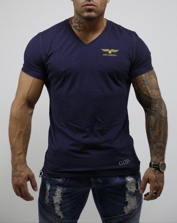 LE CLASSIQUE - T-shirt Viscose Col V Blue $50,99 CAD