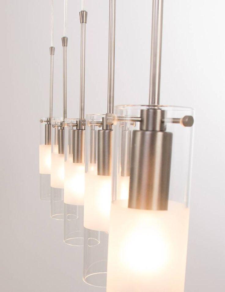 Grote eettafel hanglamp met glazen cilinders
