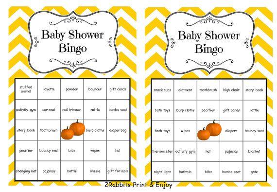 36 Thanksgiving Baby Shower Bingo Printable Cards Prefilled with Baby Gift Words - Pumpkin Baby Shower Bingo Game - Orange Chevron