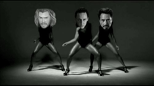 Funny GIF  Tom hiddleston, Chris Hemsworth, Robert Downey Jr. -Single Ladies HAHAHAHAHAHAHAHA!!!!