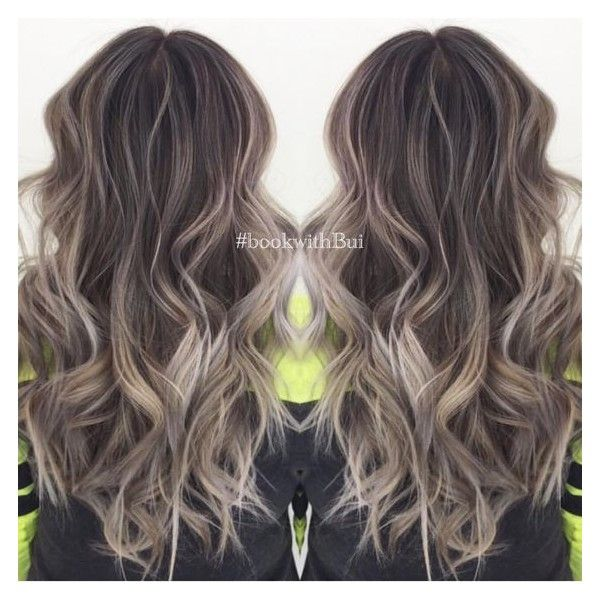 beautiful long dark brown hair with lots of cool tone ash blonde... ❤ liked on Polyvore featuring hair