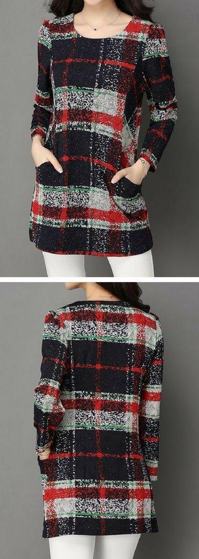 Printed Pocket Round Neck Long Sleeve Blouse.