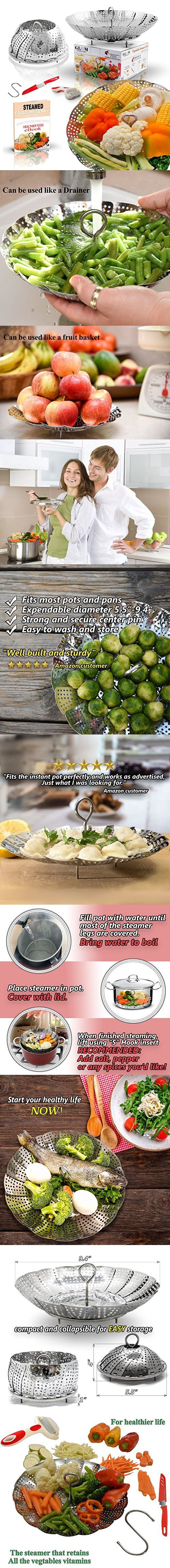 Upgraded Stainless Steel Vegetable Steamer Basket  Fits Instant Pot Pressure Cooker  Plus BONUS ACCESSORIES  Safety Tool, Multifunction Peeler, Pairing Knife with Cover, and Healthy Recipes eBook