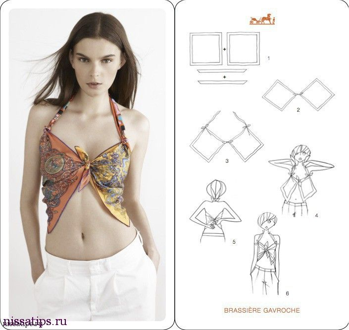 How To Tie A Scarf - Hermès Scarf Knotting Cards Vol.4 - Brassiere Gavroche