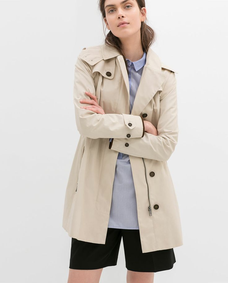 SHORT HOODED TRENCH COAT from Zara: Fashion, You, Capsule Wardrobe, Style, Women Shorts, Fierce Coats, Trench Coats