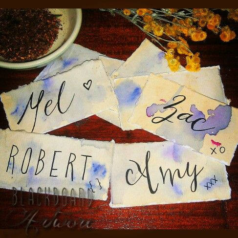 Hand torn (& written) herbal tea naturally dyed name place tags. #nametags #weddingtablenames #handmade #typography #handwritten