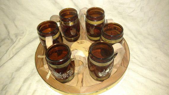 Set Of 6 Vintage Siesta Ware Cowboy Western Roundup In Box Brown Mugs Wood Tray