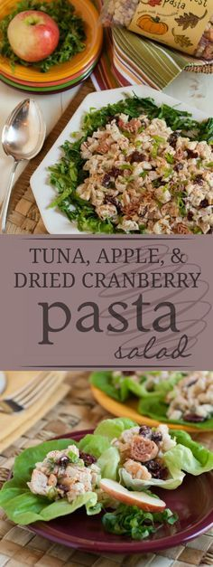 Pasta with Tuna, Apple, and Dried Cranberries | A wonderful lunch or snack any time of the year! Crunchy & healthy, it'll be your new family favorite! | http://WorldofPastabilities.com