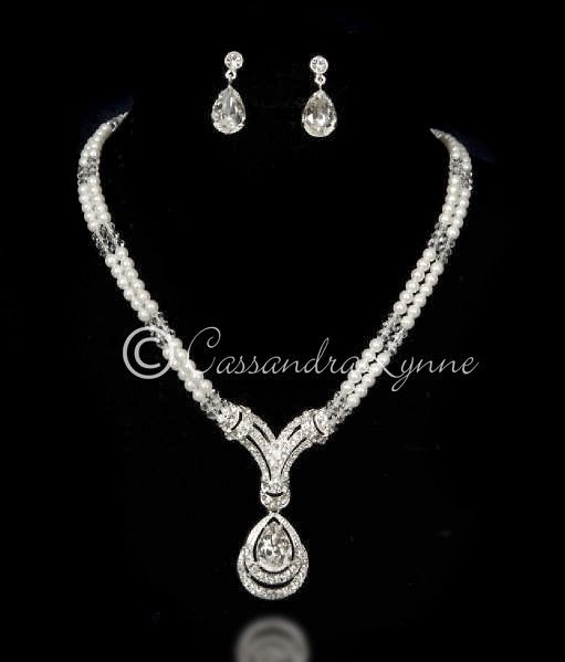 Art Deco Pearl And Rhinestone Bridal Necklace Set