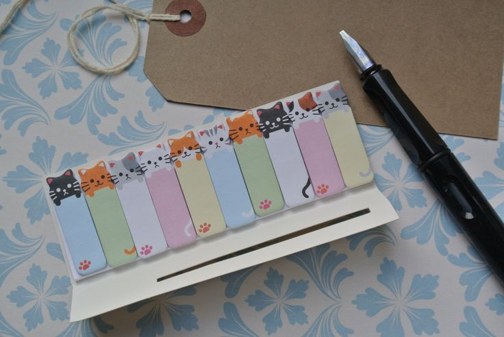 Fun Cat Mini Cute Zakka Style Filofax Personal Organiser Page Markers Sticky Notes Tabs Book Marks Post It Note Kawaii by PrintedRibbon4U on Etsy
