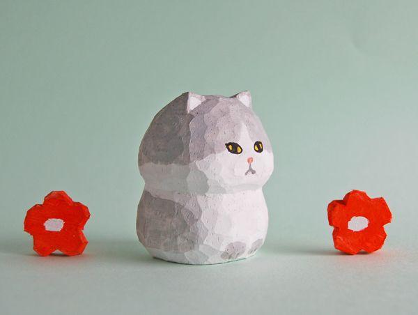 木彫り人形ねこ 白×グレー [MWF-183]