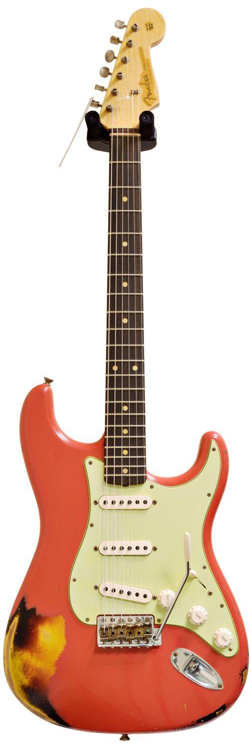 Fender Custom Shop 1960 Strat Relic Fiesta Red over 3 Tone Sunburst #R69019 Main Product Image