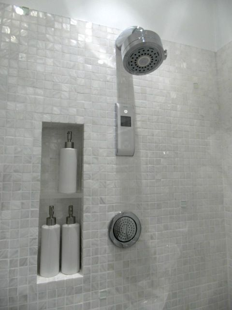 Pure White Freshwater Mother Of Pearl Mosaic Bathroom Niche Brushed Nickel  Hardware.