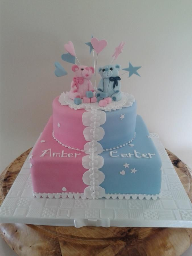 Christening Cake For Twins Party Cakes Cupcakes And