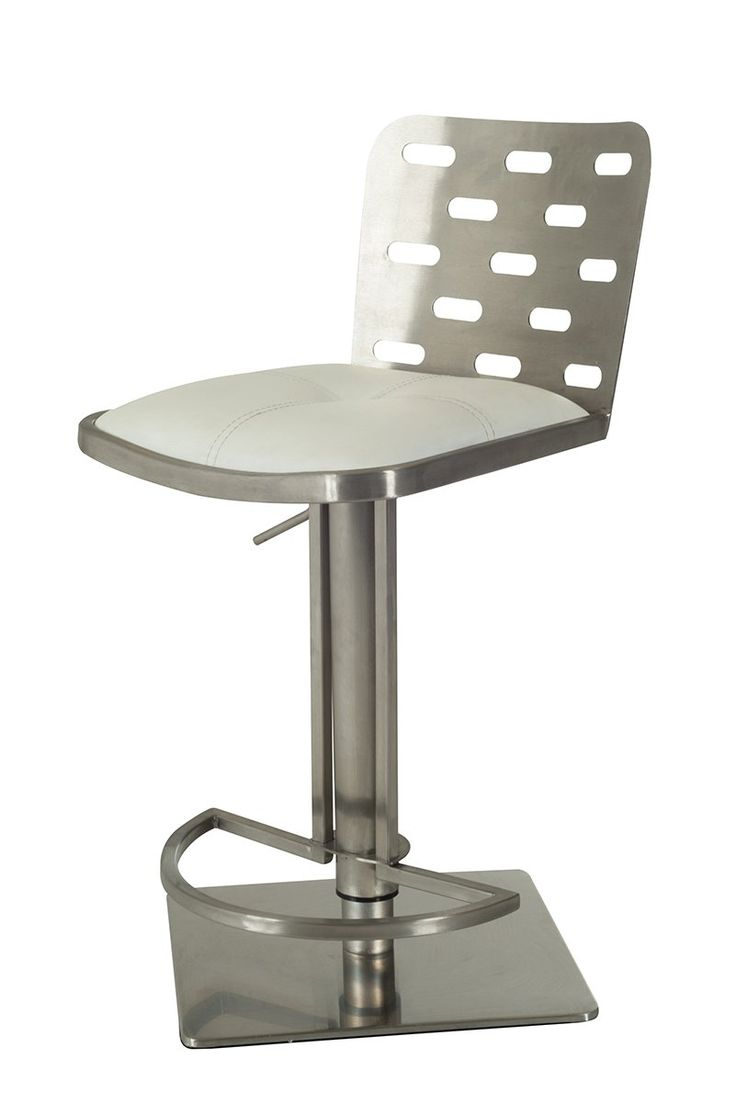 """Modrest Cora Modern White & Stainless Steel Bar Stool. The Modrest Cora Modern White & Stainless Steel Bar Stool has a posh airy design featuring a white leatherette upholstered swivel seat and a brushed stainless steel back with 'Windows'. The seat is adjustable to a height of 22 """""""" 32"""" and features a brushed stainless steel pedestal base and a half-moon shaped footrest. This modern bar stool has a dimension of W21"""" x D16"""" x H31/41"""" with a maximum weight capacity of 500 lbs., requiring…"""