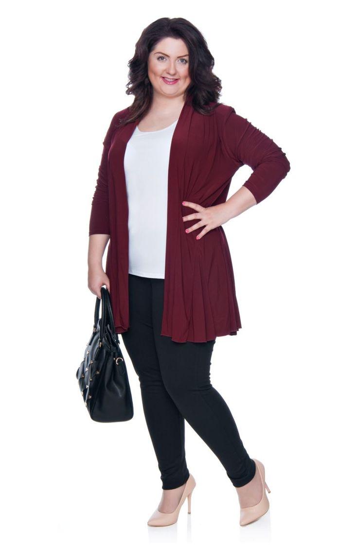 Ciepłe czarne legginsy typu spodnie - Modne Duże Rozmiary