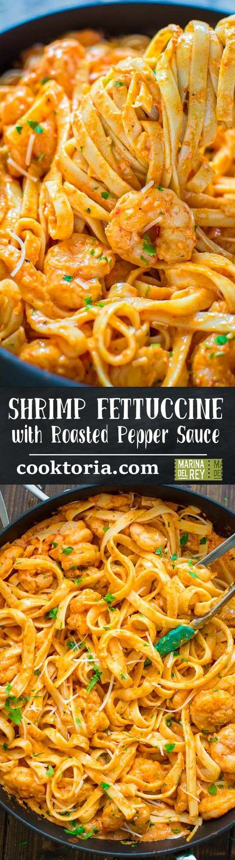 Rich and creamy, hearty and so flavorful, this Shrimp Fettuccine with Roasted Pepper Sauce tastes better than a restaurant-cooked meal. Made in under 30 minutes! ❤ COOKTORIA.COM #ad #MarinaDelRayFoods #shrimp #eatwild #pureseafood