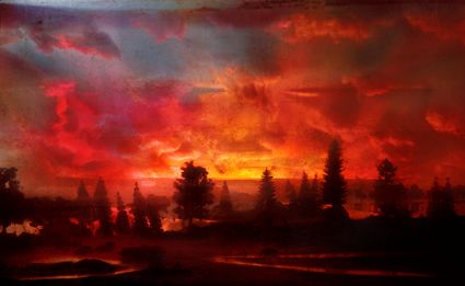 OMG!  'Sunset 44d', C-print Kim Keever-Kim Keever creates large-scale photographs by meticulously constructing miniature topographies in a 200-gallon tank, which is then filled with water.    These dioramas of fictitious environments are brought to life with colored lights and the dispersal of pigment, producing ephemeral atmospheres that are quickly captured with his large-format camera.
