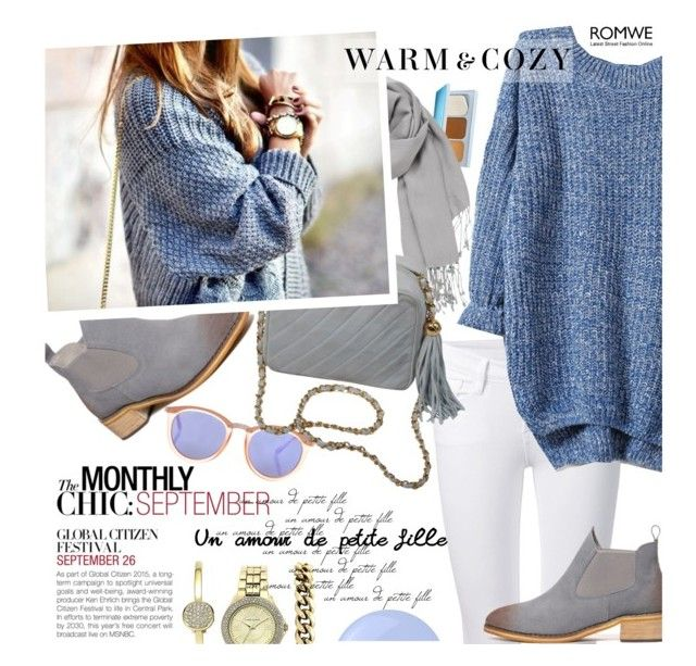 """Knit Blue Sweater"" by ansev ❤ liked on Polyvore featuring Estée Lauder, maurices, BCBGMAXAZRIA, Le Specs, Frame Denim, Chanel, Anne Klein, Levi's, Essie and romwe"