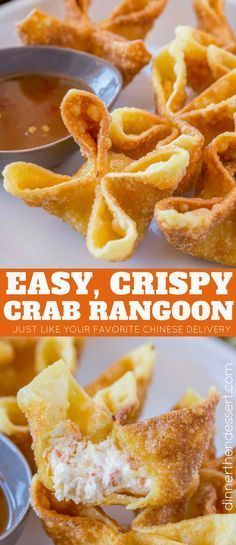 Crab Rangoon are crab and cream cheese wontons with green onions pinched into li…