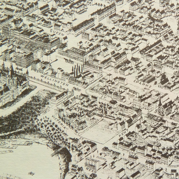 Historical map of Ottawa, Ontario. Aerial view of Ottawa showing streets and buildings.