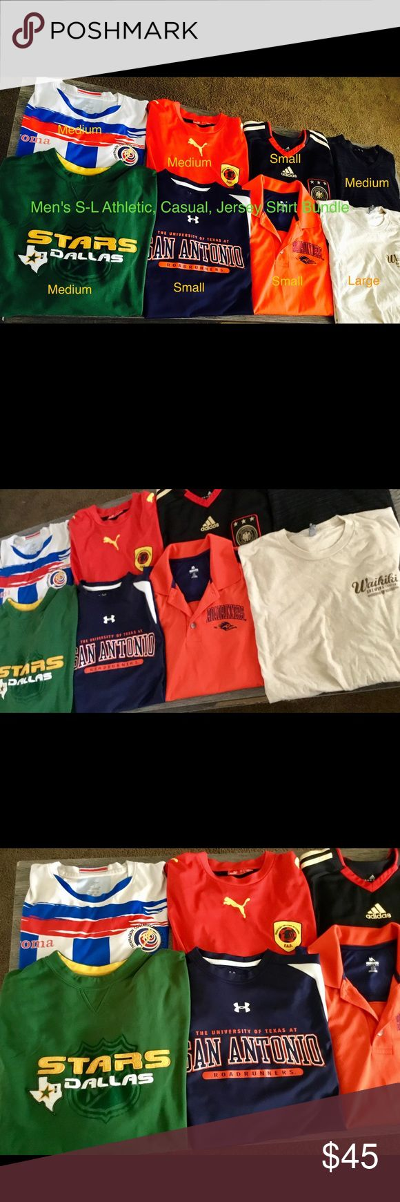 Men's Or Women Athletic/ Casual Shirt Bundle Deal Dallas Stars Long Sleeve Pullover-Good condition-Minor wear UTSA Blue Short Sleeve Athletic Tee-Under Armor-LIKE NEW (W/out tags) UTSA Orange Athletic Polo-BRAND NEW (W/out tags) never worn Waikiki Brewing Company Tee-Good condition-minor Wear  Joma Soccer Jersey-Fair condition-Some wear & minor staining  Puma Soccer Jersey- Good condition-minor Wear Adidas Soccer Jersey-Good Condition-minor wear  Black V-Neck-Good condition-Minor wear Shirts