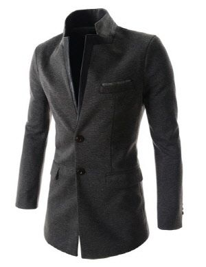 (DJC02) Mens Slim Fit China Collar Leather Patched Chest Pocket 2 Button Coat
