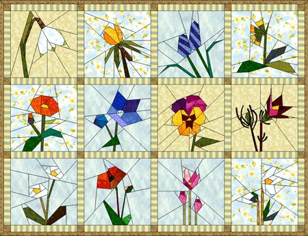 Free Star Flower Quilt Patterns : 17 Best images about flower quilts on Pinterest Quilt, Art quilting and Wall hangings