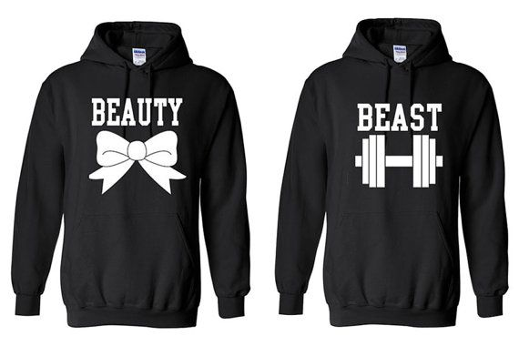 couple Matching Hoodies - Beauty And Beast on Etsy, $47.99