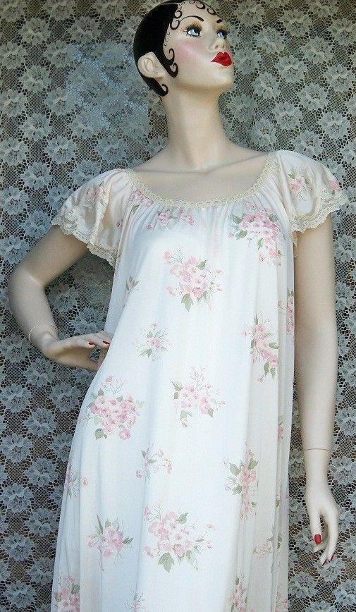 Vintage Ladies Pink Floral Nightgown Negligee Lingerie by BlackRain4, $34.99