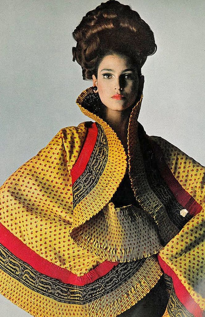 Benedetta Barzini in a brilliant colored silk shawl by Mr. John, photo by Bert Stern for Vogue, 1965