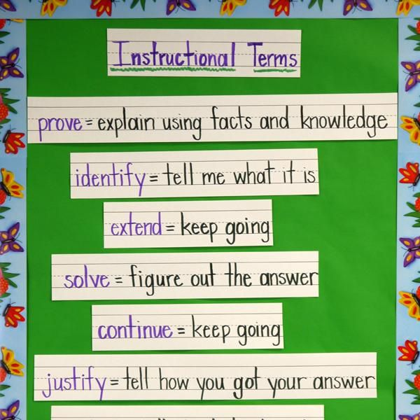 INSTRUCTION: This is a clever and useful vocabulary activity, explicitly teaching students a number of Tier 2 words they will encounter in assessments. Examples of words include prove, identify, and justify. Teaching these particular words to students goes beyond adding to their vocabulary, and helps them become more successful in assessments by knowing exactly what their teacher is looking for in their answers.