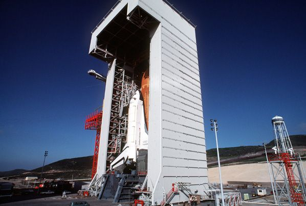 ater photographs from 1985 provide another look at the only time a space shuttle vehicle ever stood at Vandenberg Air Force Base's Space Launch Complex 6. The program of launching military space shuttle flights into polar orbits from California would be cancelled before any missions ever took off and the SLC-6 pad eventually transferred to the Delta 4 rocket.