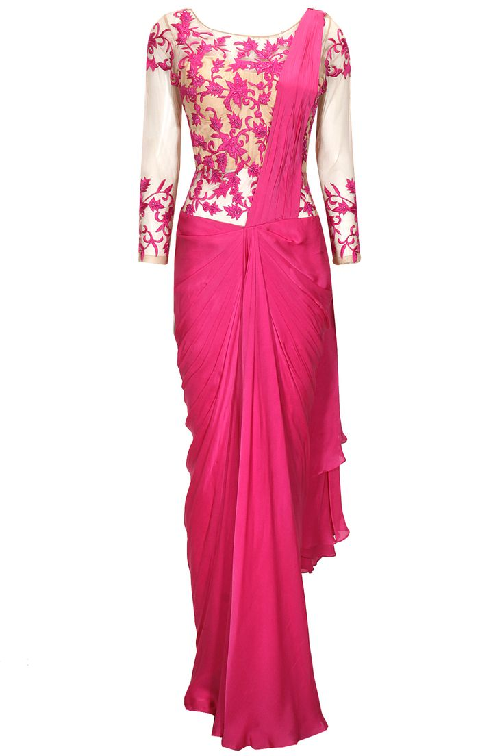 Pink floral embroidered pre- stitched sari gown available only at Pernia's Pop-Up Shop.