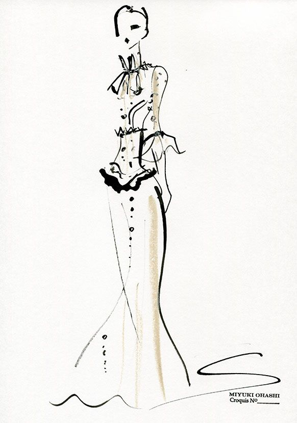 Fashion illustration - fashion sketch for Valentino Pre-Fall 2015 // Miyuki Ohashi