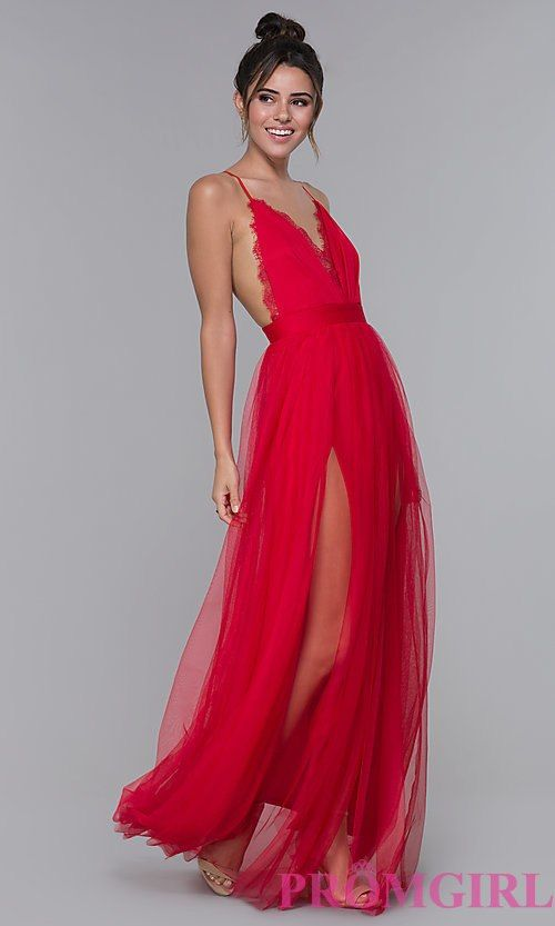 35a3e12a3798 Long Open-Back Lace-Trimmed V-Neck Formal Dress | prommmmm | Dresses ...