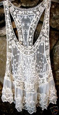 Summer Floral Ivory Lace Cotton Crochet See-through Vest http://myworld.ebay.com/kikimalone13