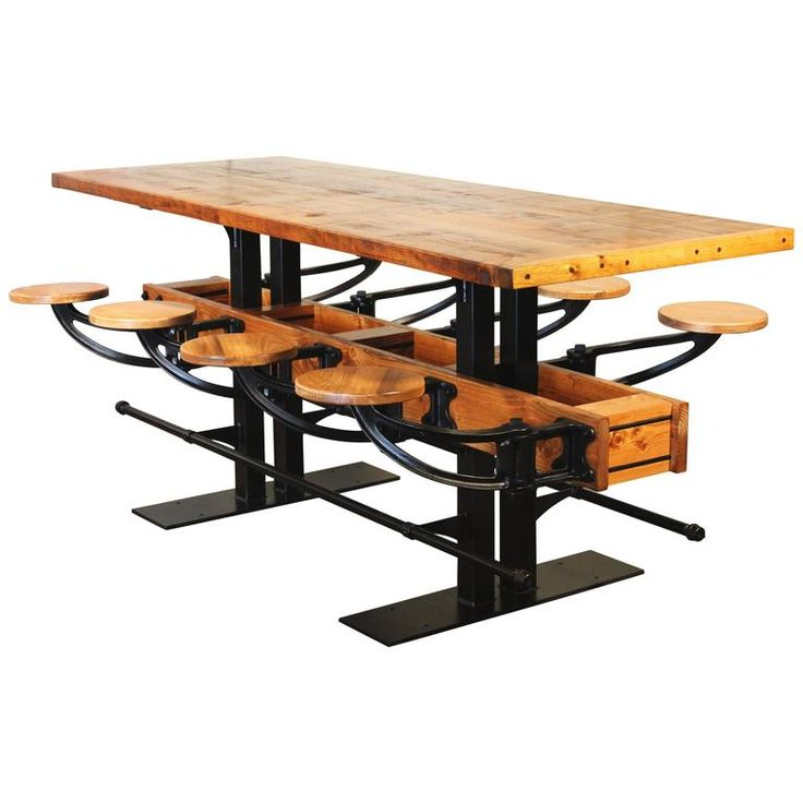 Swing out seat bar table vintage industrial wood and steel for Table 52 restaurant gaborone