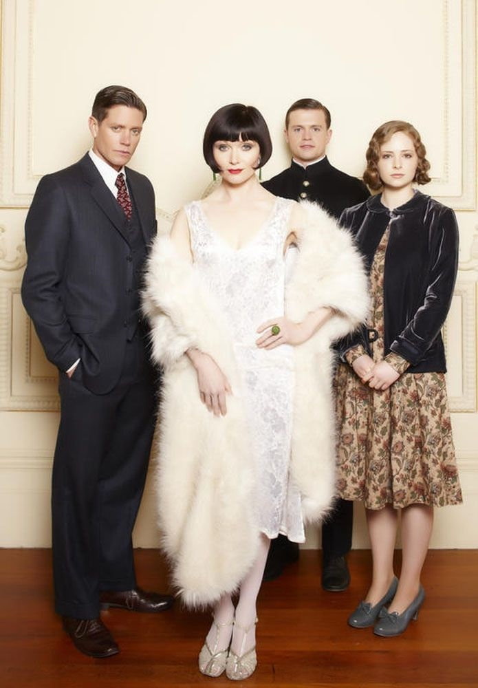 Nathan Page, Essie Davis, Hugo Johnstone-Burt and Ashleigh Cummings, stars of Miss Fisher's Murder Mysteries