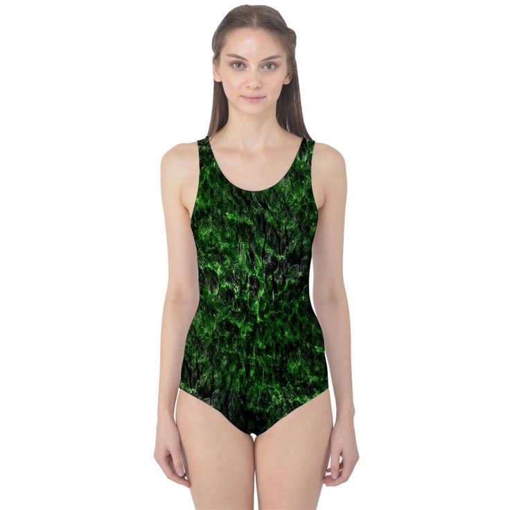 Liquid Green Women's One Piece Swimsuit  Made from 90% Polyester, 10% Spandex Available in XS, S, M, L, XL, 2XL and 3XL Swimsuits are padded with an inner lining