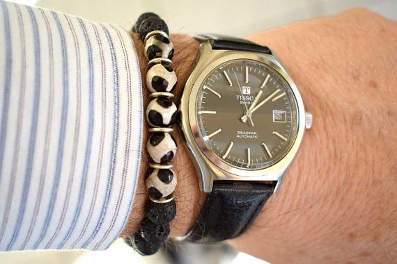 Men's Bracelet with Tibetan Agate and Black Lava Beads Beaded Stretch Bracelet Men's Jewelry Men's Beaded Bracelet Bracelets for Men