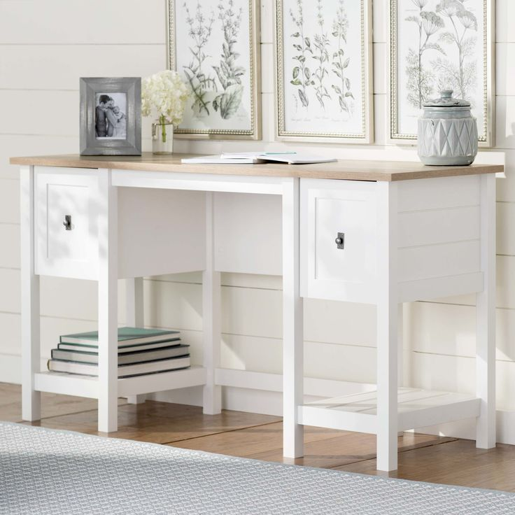 This writing desk pairs a finish with