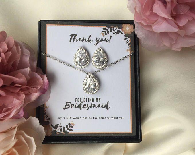 Crystal Bridal Jewellery Set, Bridesmaids Gift, Bridal Jewellery Set, Crystal Earrings, Tear Drop Crystal Earrings, Matching Crystal Set