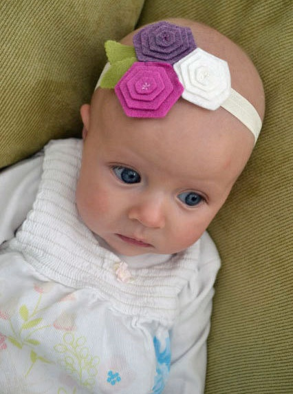 Felt Flower Headband Purple Felt Flower Trio by SweetHoneybunch, $16.00