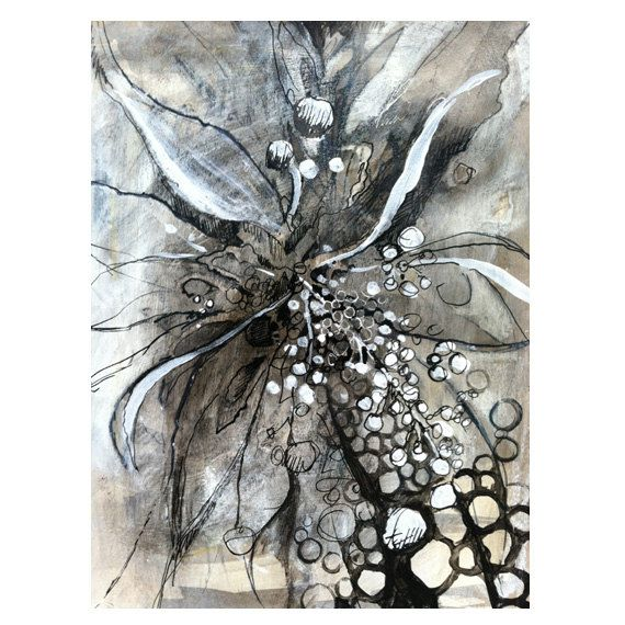 Mixed media abstract flower drawing on Etsy, $60.00