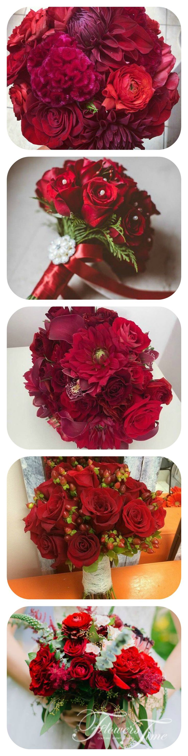 Red bridal bouquets by Flowers Time #wedding#roses#redrose#collage#
