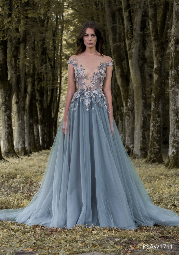 PSAW1711 - Storm grey tulle ballgown with silk flower and dragonfly embellishment