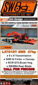 L4701DT 4WD Kubota Tractor for sale at Southwest Ag, In Bayfield Colorado.   Package deal includes Front Quick Tach Forks, Quick Tach Bucket, Rear 3-pt Blade, 3-pt PTO Brush Hog and Canopy mounted on ROPS.