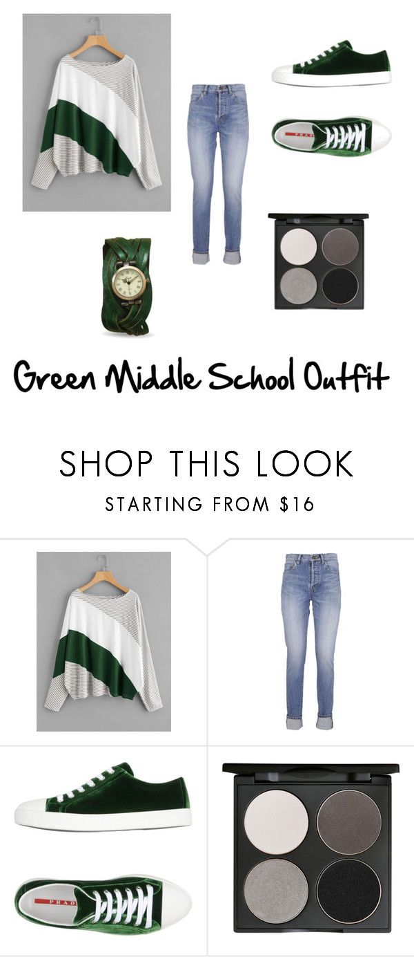 """Green Middle School Outfit"" by audrabergevin ❤ liked on Polyvore featuring Yves Saint Laurent, Prada Sport and Gorgeous Cosmetics"