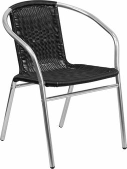 Aluminum and Black Rattan Commercial Indoor-Outdoor Restaurant Stack Chair, TLH-020-BK-GG by Flash Furniture   BizChair.com